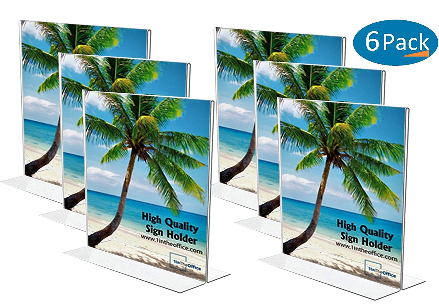 """1InTheOffice Vertical Stand-Up Sign Holder 8.5 x 11""""6 Pack"""""""