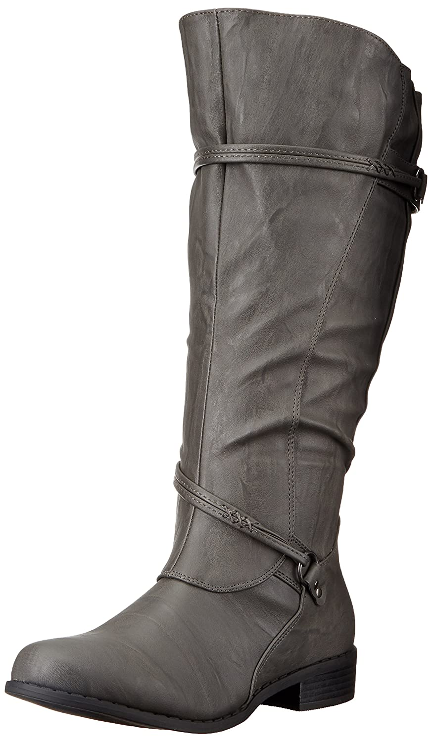 Brinley Co Women's Olive-Xwc Riding Boot B01G3R14Y4 8 B(M) US|Grey Extra Wide Calf