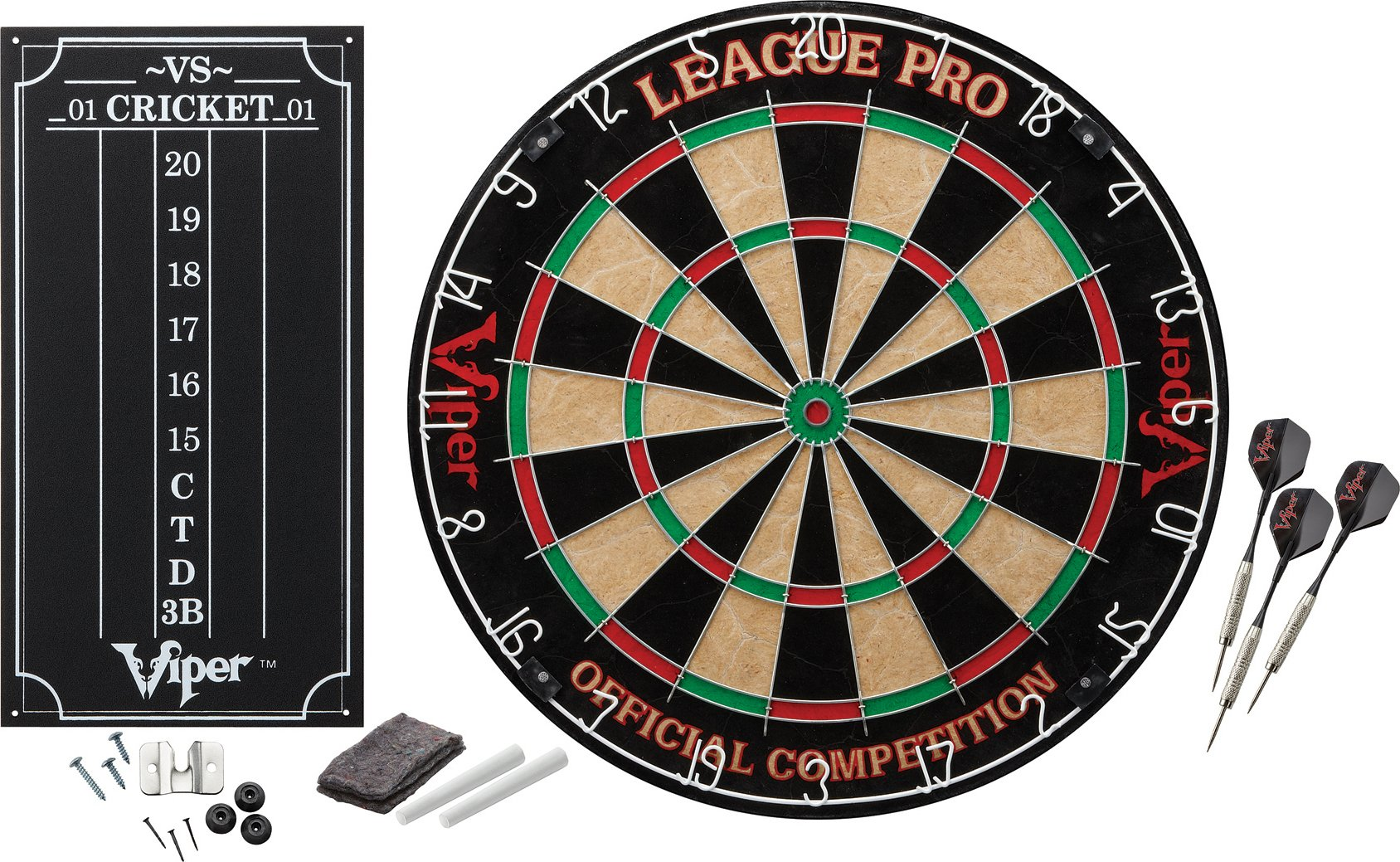 Viper League Pro Regulation Bristle Steel Tip Dartboard Starter Set with Staple-Free Bullseye, Galvanized Metal Radial Spider Wire; High-Grade Compressed Sisal Board with Rotating Number Ring for Extending Life, Includes Chalk Cricket Scoreboard and Steel by Viper by GLD Products