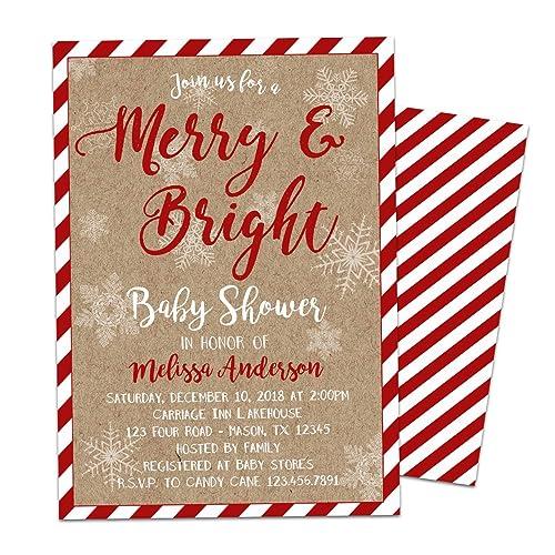 Amazon Com Christmas Baby Shower Invitation Merry And