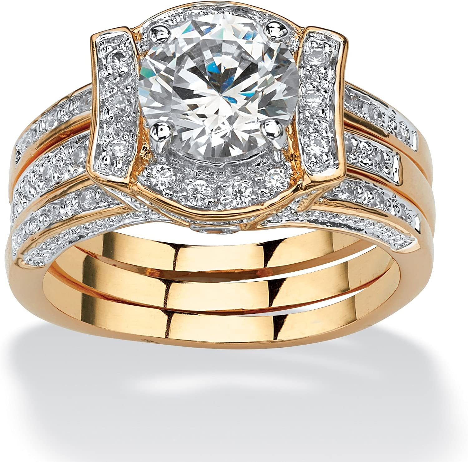 Palm Beach Jewelry 18K Yellow Gold Plated Round Cubic Zirconia Vintage Style Jacket Bridal Ring Set