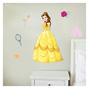 Disney Princess Wall Decals - Belle Beauty and The Beast Disney Wall Decals with 3D Augmented Reality Interaction - Princess Wall Decals for Girls Bedroom - Princess Room Decor