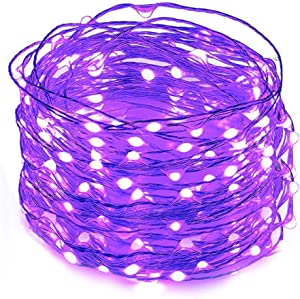 Twinkle Star 33FT 100 LED Silver Wire String Lights Halloween Lights Battery Operated LED String Lights for Christmas Wedding Party Home Holiday Decoration, Purple