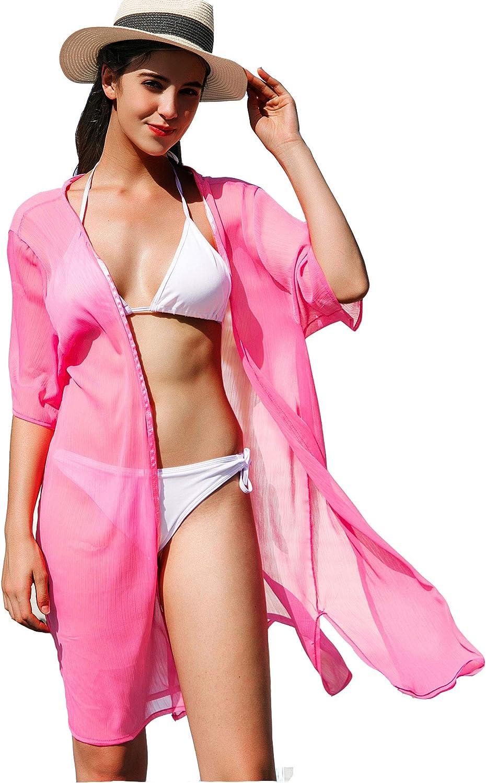 Pink La Carrie Womens Chiffon Kimono Cardigan Cover Up with Half Sleeve Summer Sheer Beachwear Swimsuit for Bikini