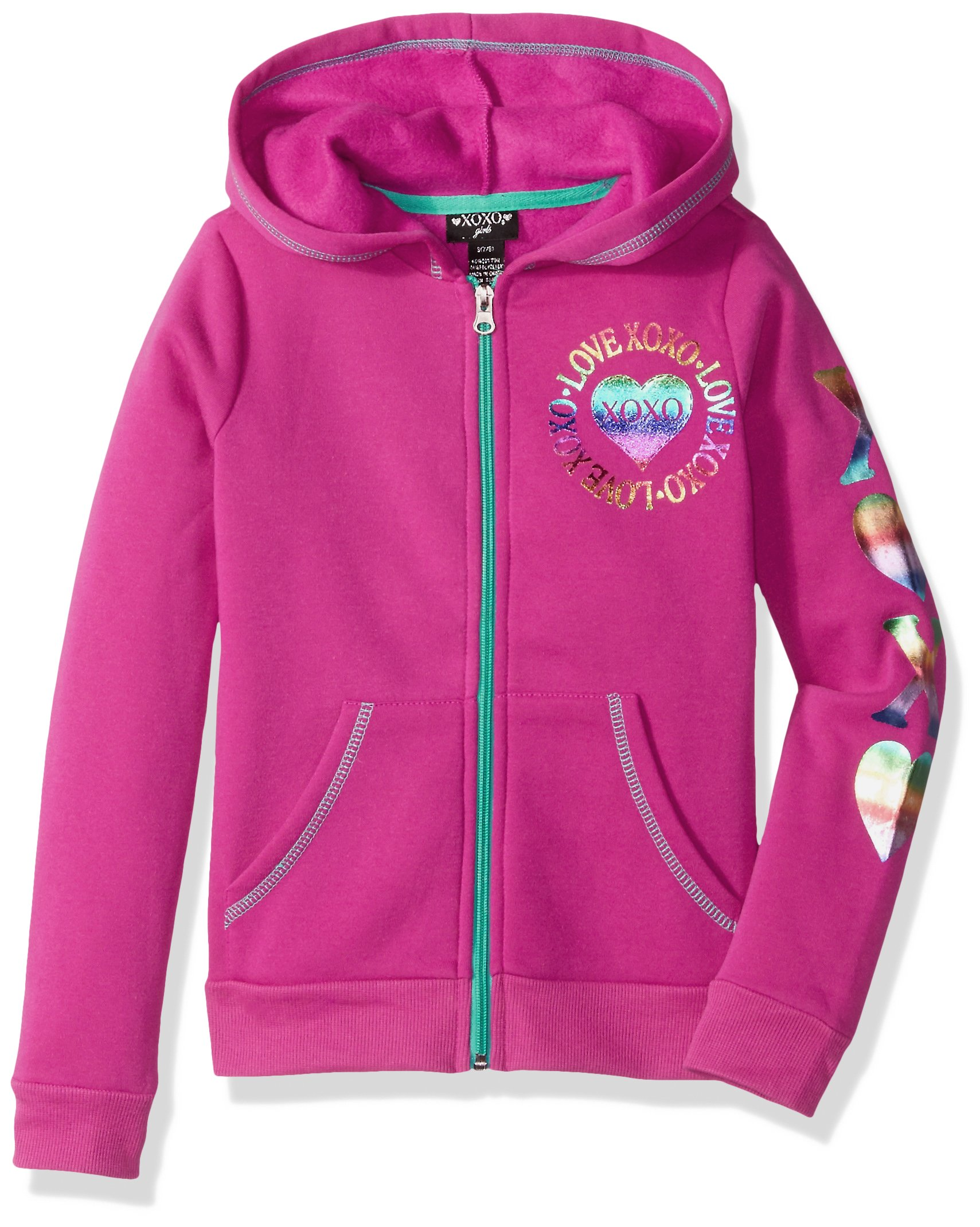 XOXO Big Girls' Fleece Logo Hoodie, Tibet Berry Heart, 10/12