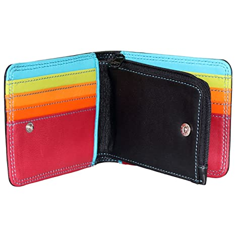 Rallegra CA 1319 - Cartera para hombre Negro Black Outside, Multi-coloured Inside (