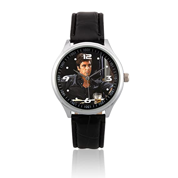 (L019) Al Pacino Tony Montana de cuero de la venda de reloj: Amazon.es: Relojes