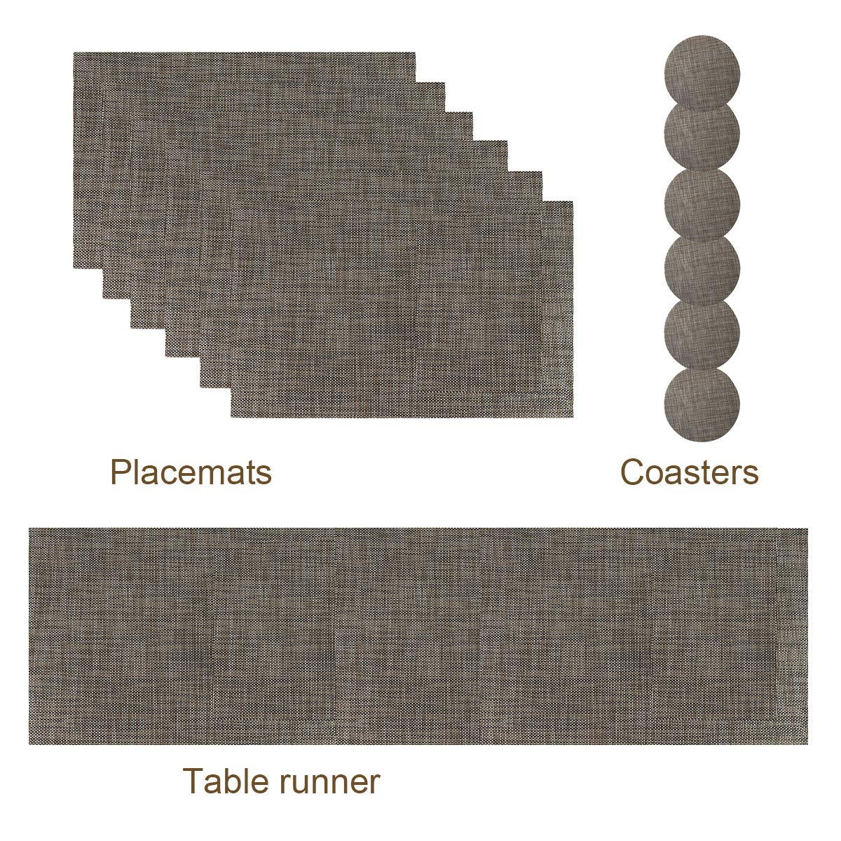 Desun Set of 6 Plcemats Heat Insulation Kitchen Dining Table Mats Set of 4 with a Compatible Table Runner and 6 Coasters (Green)