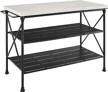 Amazon Com Crosley Furniture Madeleine Kitchen Island Steel With Faux Marble Top Kitchen Islands Carts