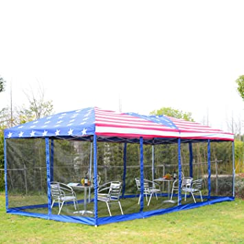 Outdoor Canopy Tent 10u0027x20u0027 Gazebo Patio Shelter With Netting Side Walls American Flag  sc 1 st  Amazon.com & Amazon.com : Outdoor Canopy Tent 10u0027x20u0027 Gazebo Patio Shelter With ...