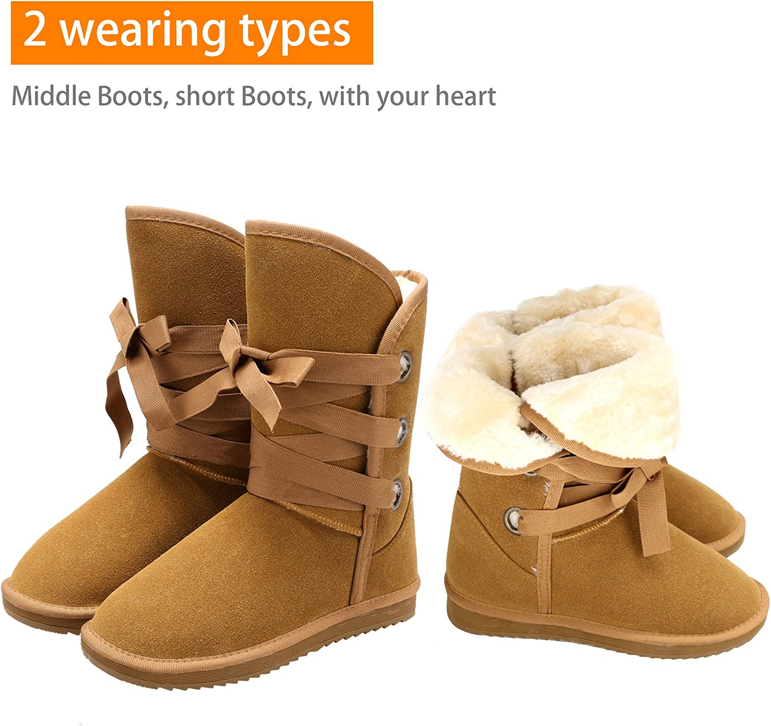 Zeagoo Womens Flat Warm Fur Lined Rubber Sole Winter Snow Ankle Boots Shoes