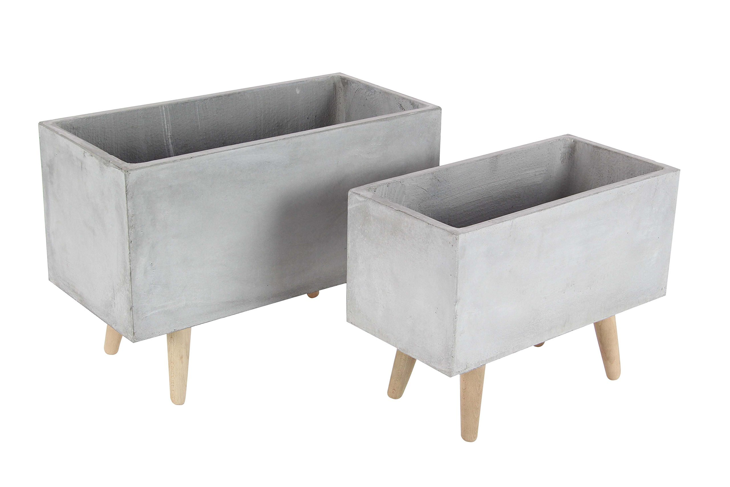 Deco 79 46466 Gray Fiber Clay and Wood Planters (Set of 2), 17'' x 21'', Gray/Brown