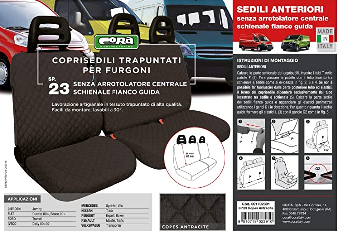 Coprisedili AUTO PER FORD Tourneo Courier 13-5-Sedili Nero Transporter riferimento
