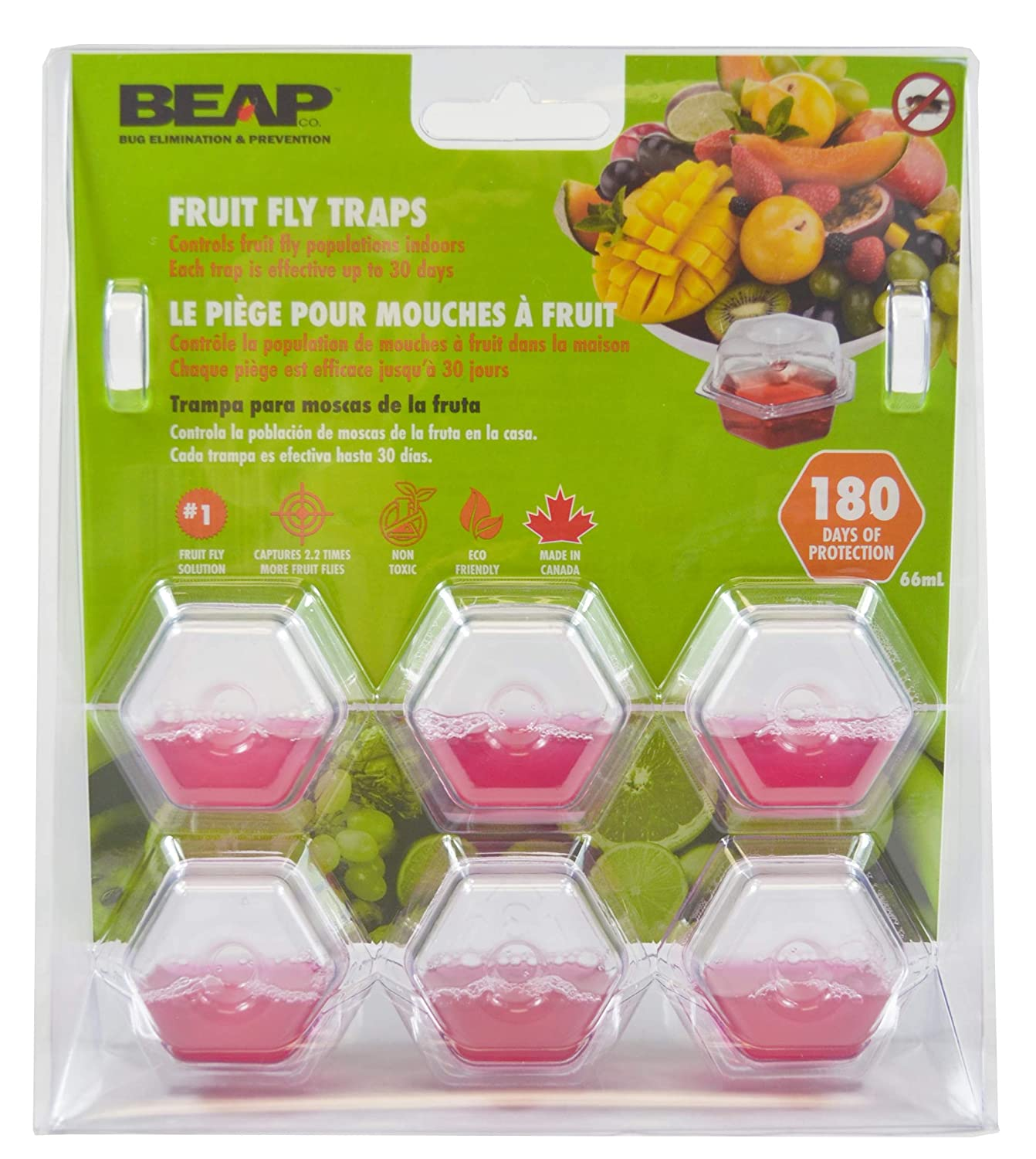 BEAPCO 10036 Prefilled Fruit Fly Traps, 6-Pack, Red