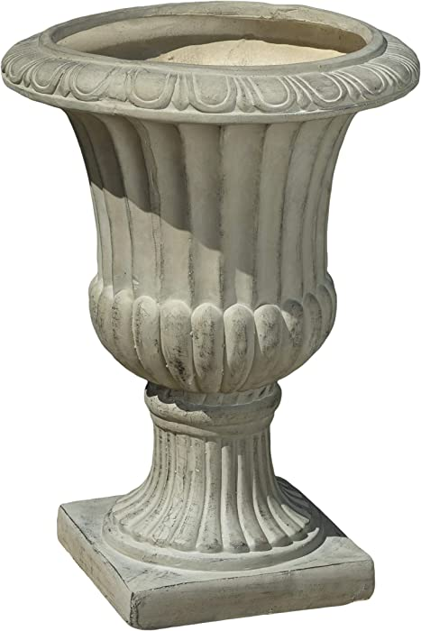 Great Deal Furniture Outdoor/Indoor Antique Green Stone Finish Planter/Urn