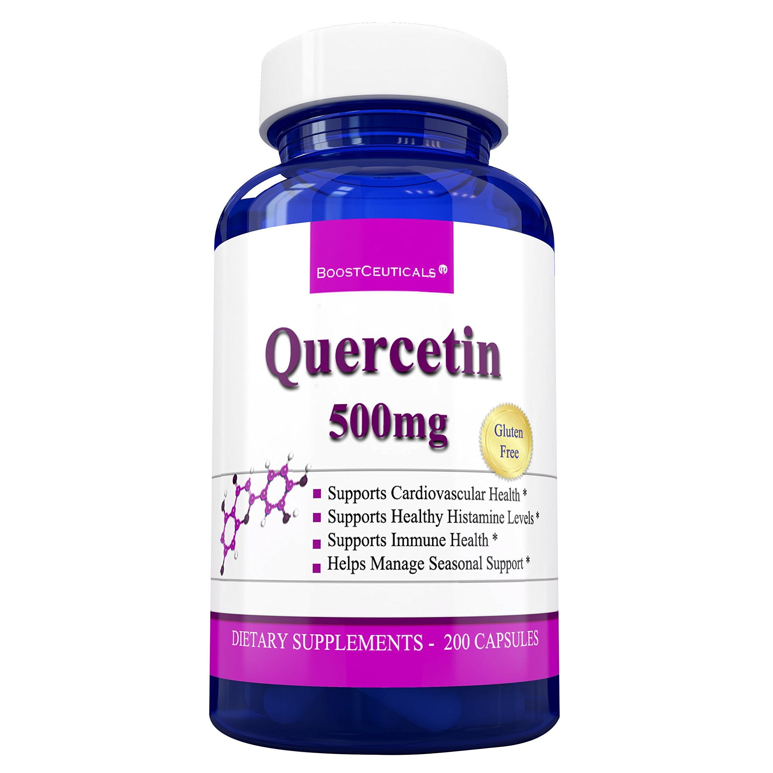 BoostCeuticals Quercetin 200 Capsules - Pure Quercetin 500mg Non-GMO Gluten Free Quercitin Supplements for Anti Inflammatory and Allergy Relief by BoostCeuticals