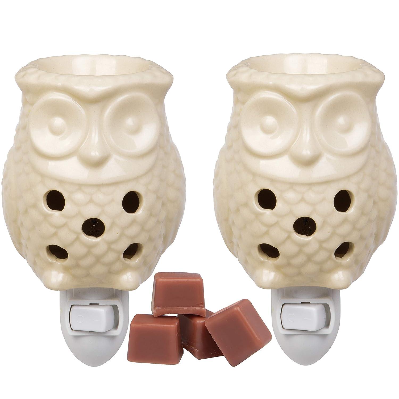 Deco Plug-in Fragrance Wax Melt Warmer, Set of 2 Includes 4 Wax Cubes (5x3) - Owl
