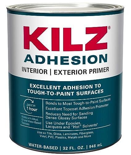 KILZ Adhesion High-Bonding Interior/Exterior Latex Primer/Sealer, White, 1  quart