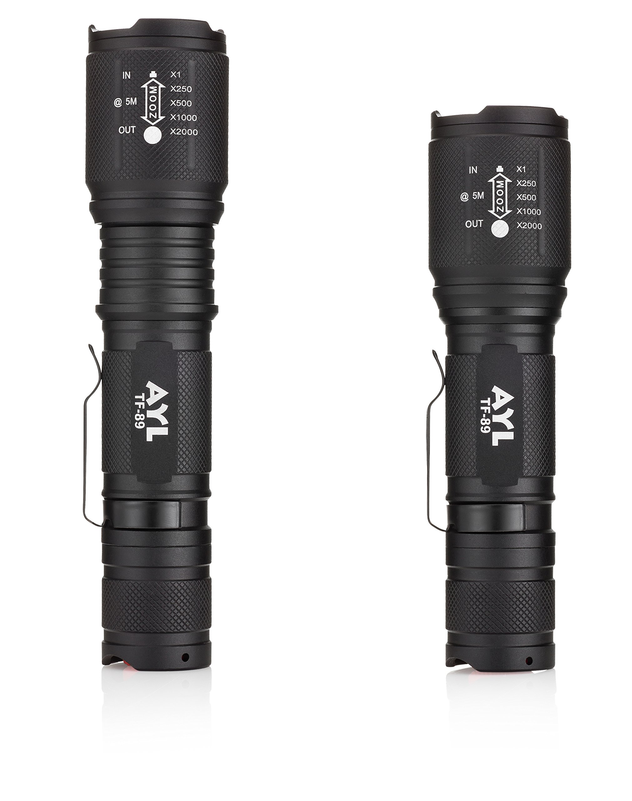 AYL LED Flashlight Tactical Flashlight - [2 Pack] 1000 High Lumens CREE Torch Light, Ultra Bright Emergency Handheld Flashlights by AYL (Image #5)