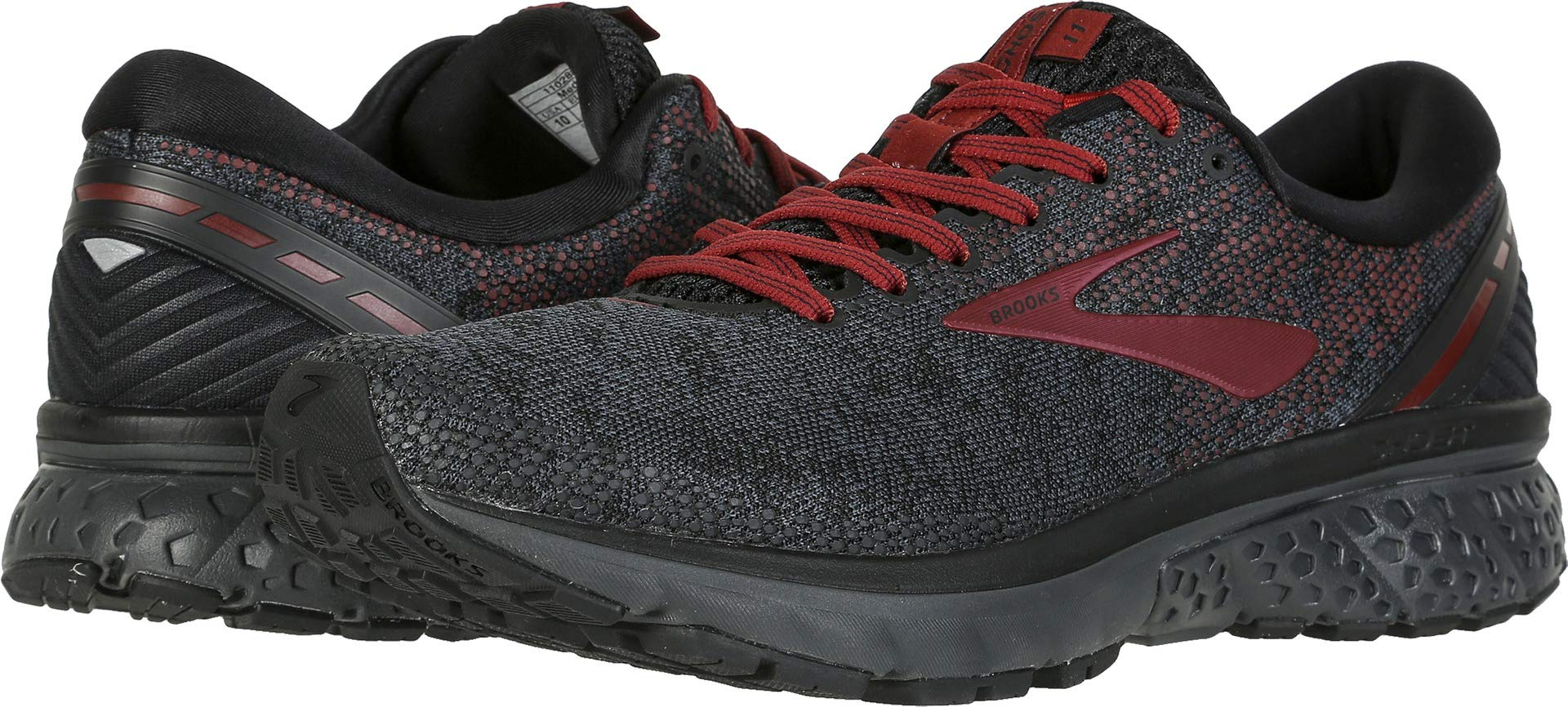 Brooks Men's Ghost 11 Black/White/Merlot 15 D US by Brooks (Image #3)
