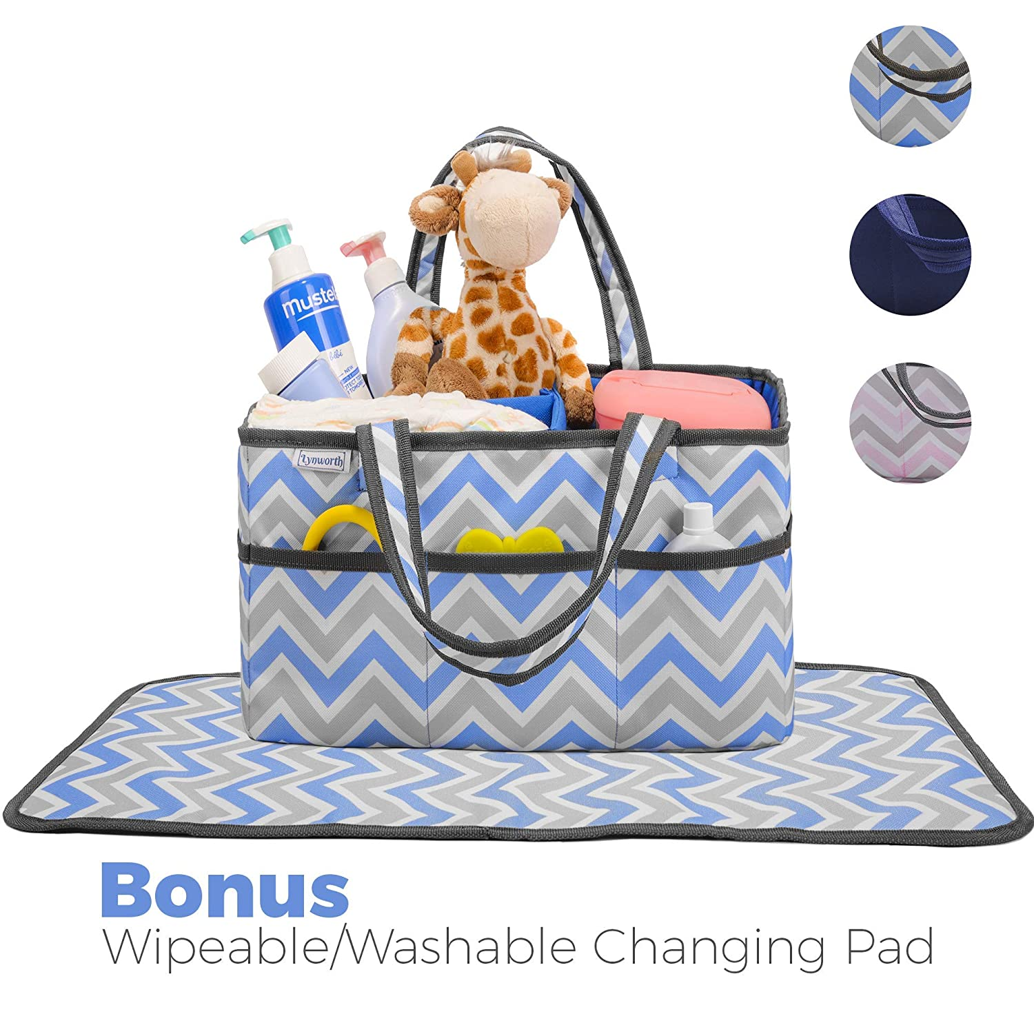 Diaper Caddy, Nursery Organizer: Pink and Grey Chevron, Best Portable Washable Diaper Caddy Organizer with Large Storage Space. Free Changing Pad (Pink, Large) Lynworth