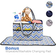 Diaper Caddy, Nursery Organizer: Blue and Grey Chevron, Best Portable Washable Diaper Caddy Organizer with Large Storage Space. Free Changing Pad (Blue, Large)
