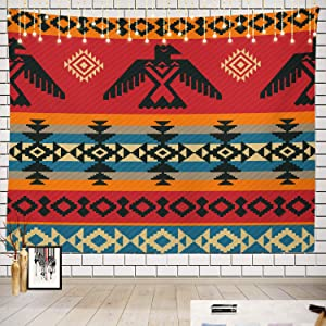 Batmerry Native American Tapestry, Native American Navajo Tribal Design Print Picnic Mat Hippie Trippy Tapestry Wall Art Meditation Decor for Bedroom Living Room Dorm, 51.2 x 59.1 Inches, Geometric 1