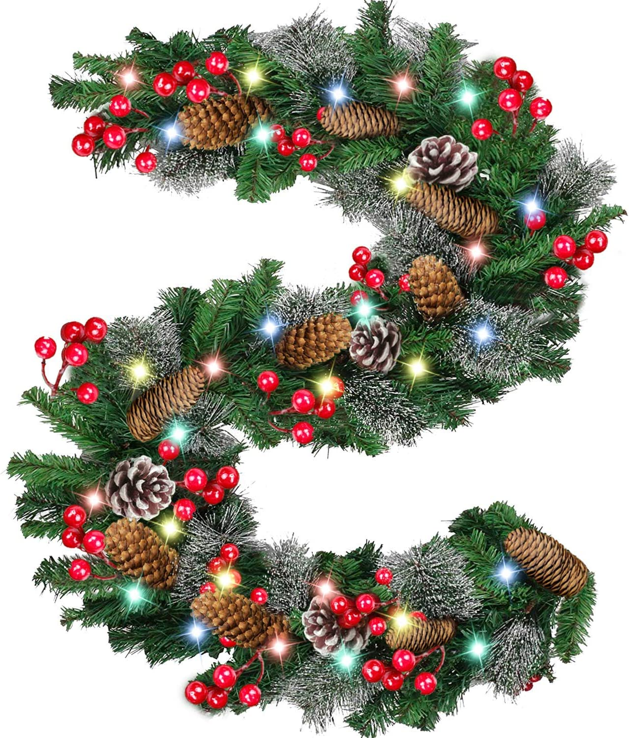 9 Foot by 10 Inch 100 LED Christmas Garland Battery Operated with Lights,Prelit Christmas Garland Greenery Outdoor Lighted Pine Garland, Mantle Garland Christmas Holiday Decoration Indoor (Color)