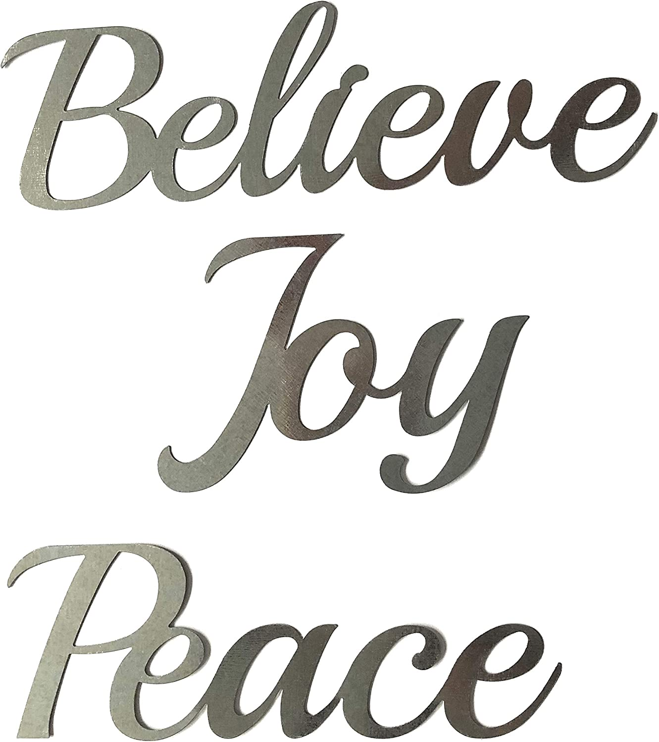 Crafter's Square Greenbrier Metal Holiday Christmas Wall Hanging Artwork Decor Plaques, 3 Cursive Words 9 in.: Peace, Joy, Believe