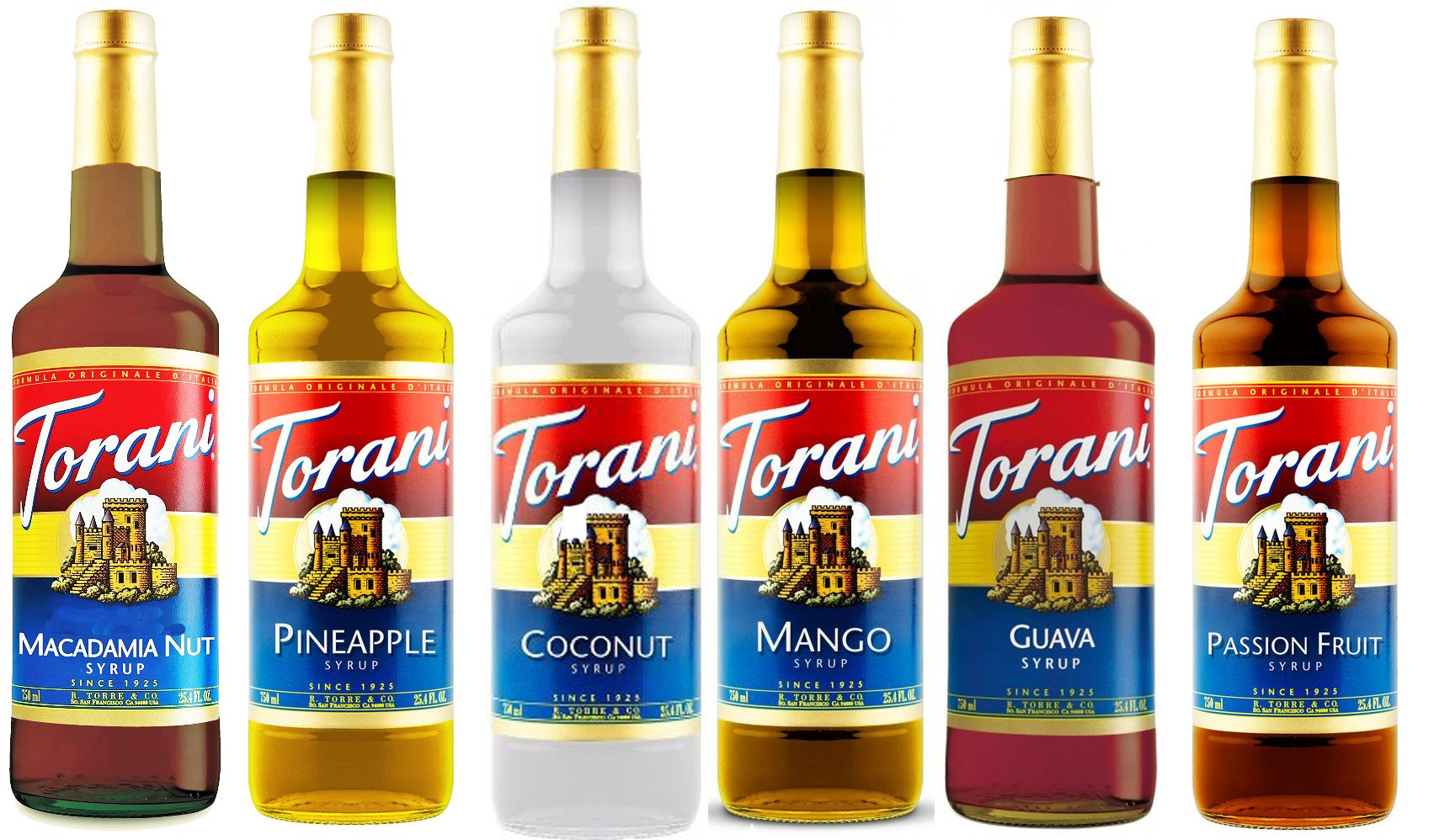 Torani Hawaiian Syrup Variety Pack of 6 - Macadamia Nut, Pineapple, Coconut, Mango, Guava & Passion Fruit (750 ml ea bottle)