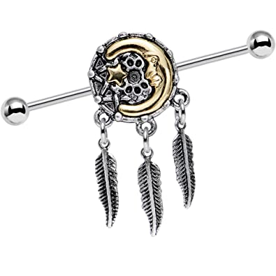 Amazon Com Body Candy Steel Moon Star Dreamcatcher Feather Dangle