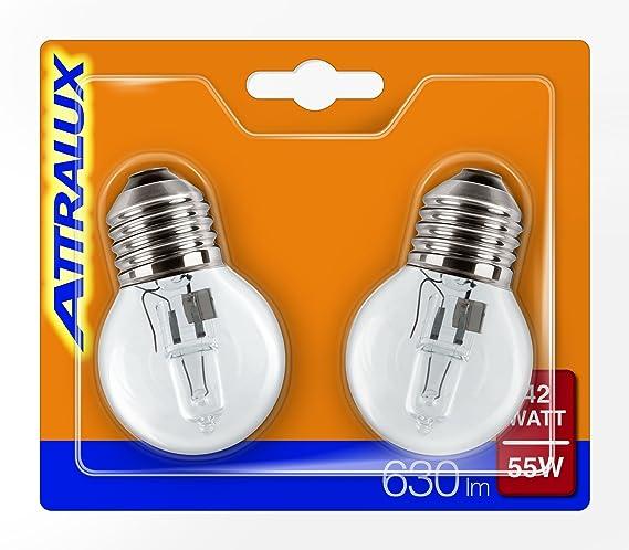 ATTRALUX 925647544217 - Pack of 2 Halogen Light Bulbs, E27, Power