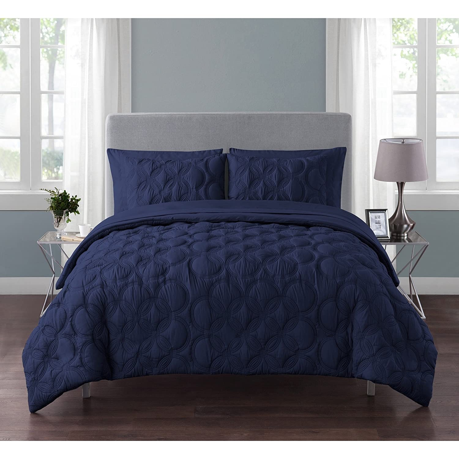 VCNY Home Atoll Embossed 7 Piece Bed-in-A-Bag Comforter Set King Navy