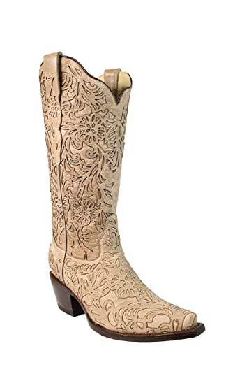 007a5e477 Amazon.com | Corral Women's 13-inch Laser Cut Bone Embroidery Snip Toe  Pull-On Cowboy Boots | Mid-Calf