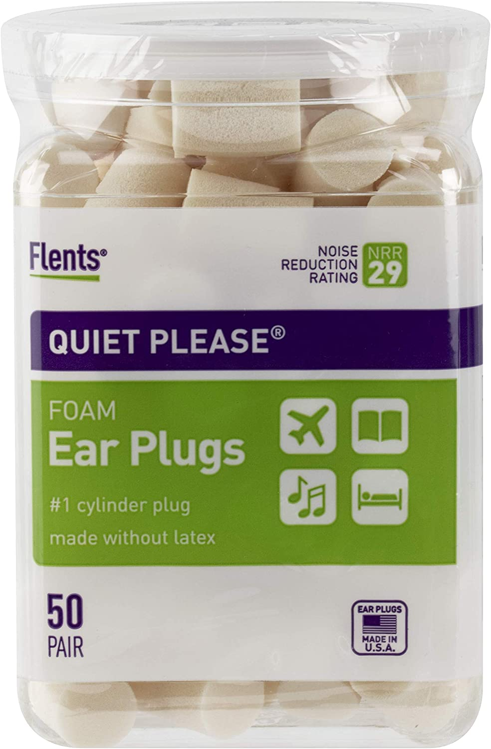 Flents Ear Plugs, 50 Pair, Ear Plugs for Sleeping, Snoring, Loud Noise, Traveling, Concerts, Construction, & Studying, NRR 29: Health & Personal Care