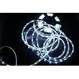 PYSICAL 110V 2-Wire Waterproof LED Rope Light Kit, 50ft/15M for Background Lighting,Decorative Lighting, Christmas Lighting, White