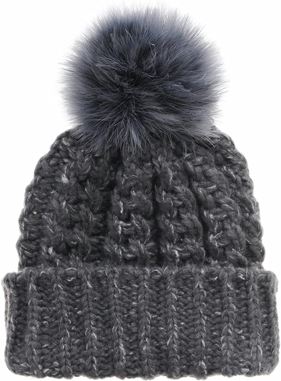 WIM Gorros de Punto Thick Crochet Knitted Faux Fur Pom Pom Beanie Hat CR5147