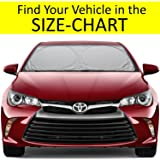 Windshield Sun Shade HASSLE-FREE SIZE-CHART for Car Truck Suv Minivan Uv Protector Cover Shields Auto Front Window Keeps Cool and Fold-Unfold Fits Various Vehicles