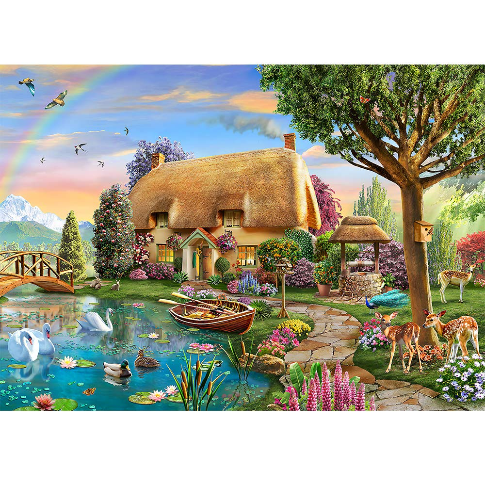 Jigsaw Puzzles for Adults 1000 Piece Puzzles Lakeside Cottage Landscape Large Piece