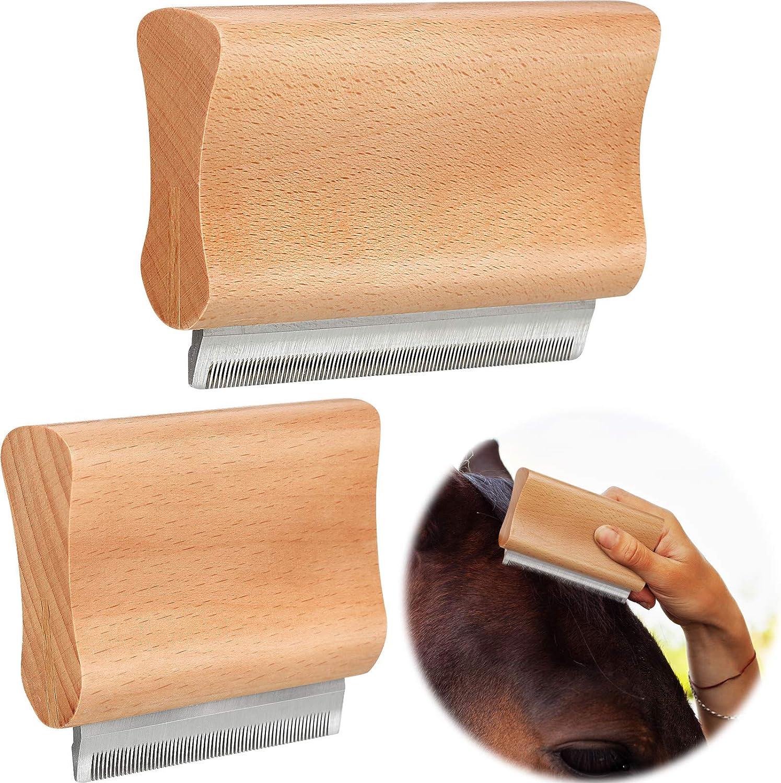 Herramienta de Depilación de Aseo de Mascotas Cepillo para Quitar Piel para Mascota de Caballos para Recortar Pelo Muertos, Enmarañado o Anudado con Hojas de Seguridad de Acero Inoxidable