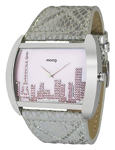Moog Paris Skyline Reloj para Mujer con Esfera Nácar Rosa, Correa Plateada de Piel Genuina y Cristales Swarovski - M41882-004: Amazon.es: Relojes