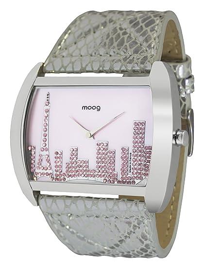 Moog Paris Skyline Reloj para Mujer con Esfera Nácar Rosa, Correa Plateada de Piel Genuina