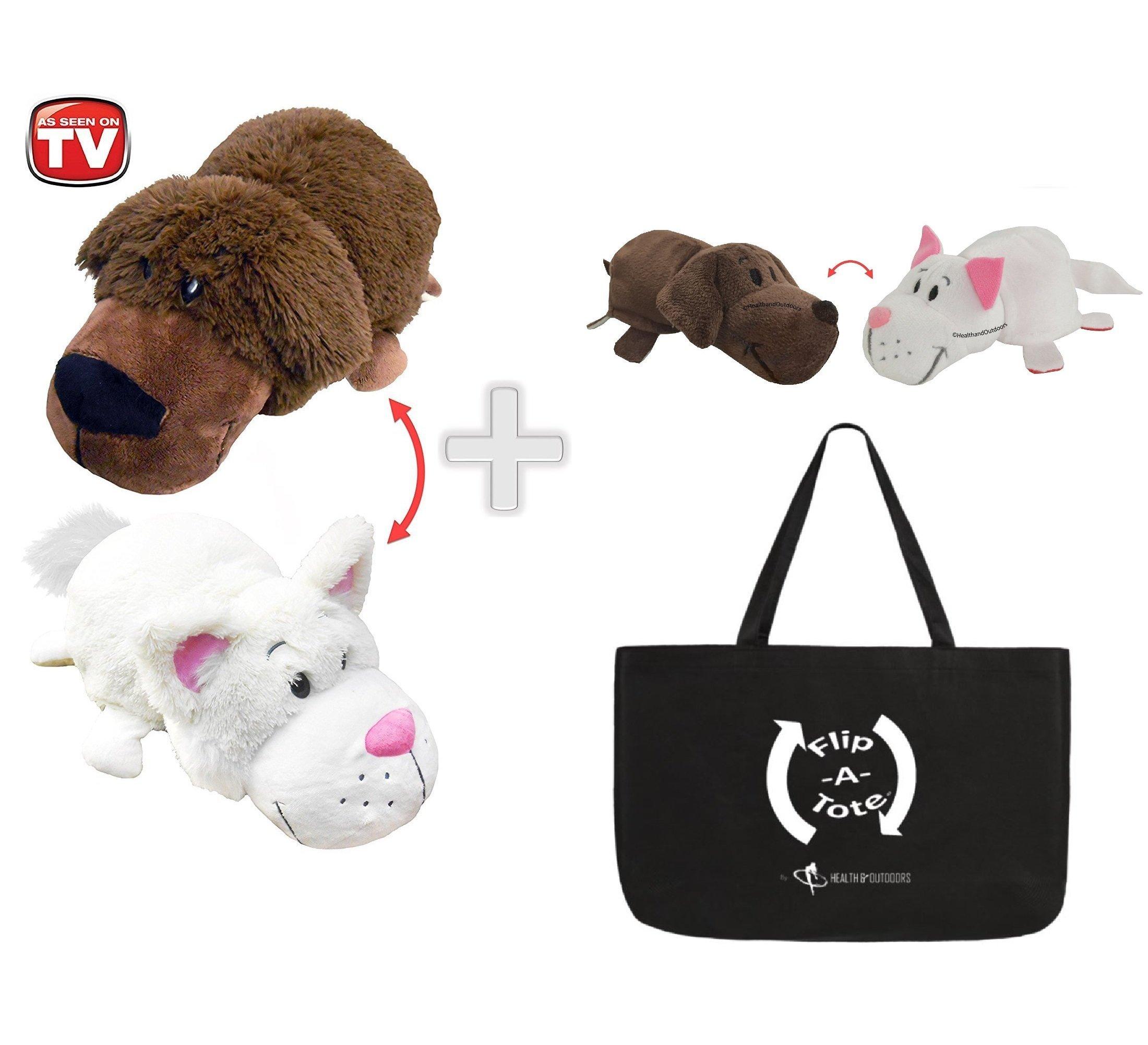 FlipaZoo 16'' & FlipZee 5'' & FlipaTote COMBO ( BRADLEY LABRADOR / RACHEL CAT ) Huggable Flip a Zoo Stuffed Animal is 2 Zoo Pets in 1 by FlipaZoo