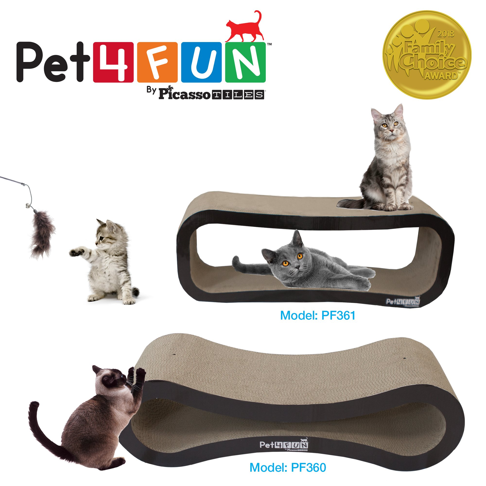 Pet4Fun® PF360 4 in1 Reversible Durable Stylish Cat Scratcher Lounge w/ large space and special teaser holder for scratching, playing, resting, and napping. Teaser, Comb, & Catnip Included by Picasso Tiles by PicassoTiles (Image #5)