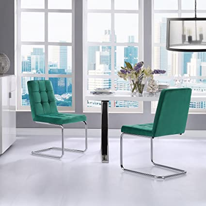 Clyde Green Leather Dining Chair - Set of 2 | Button Tufted | Chrome Frame | & Amazon.com - Clyde Green Leather Dining Chair - Set of 2 | Button ...