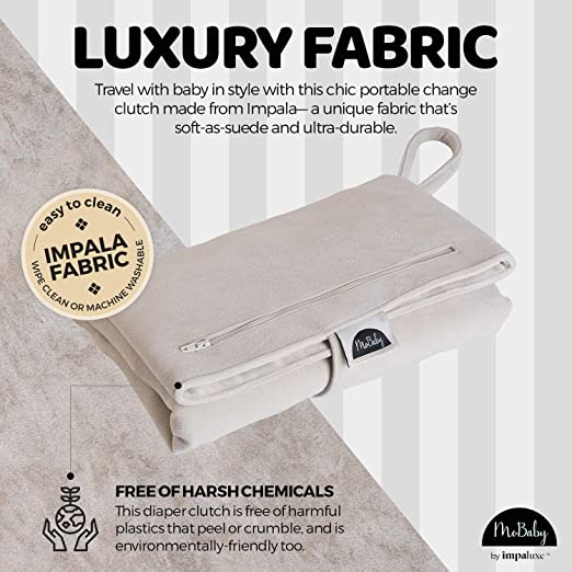 Luxurious Soft as Suede Change Clutch and Newborn Machine Washable Chic Cushioned Change Station for Baby Infant the Pad is Cream Colour Portable Changing Mat