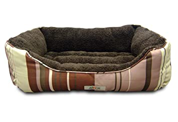 Amazon Com Aspca Microtech Striped Dog Bed Cuddler 28 By 20 By 8