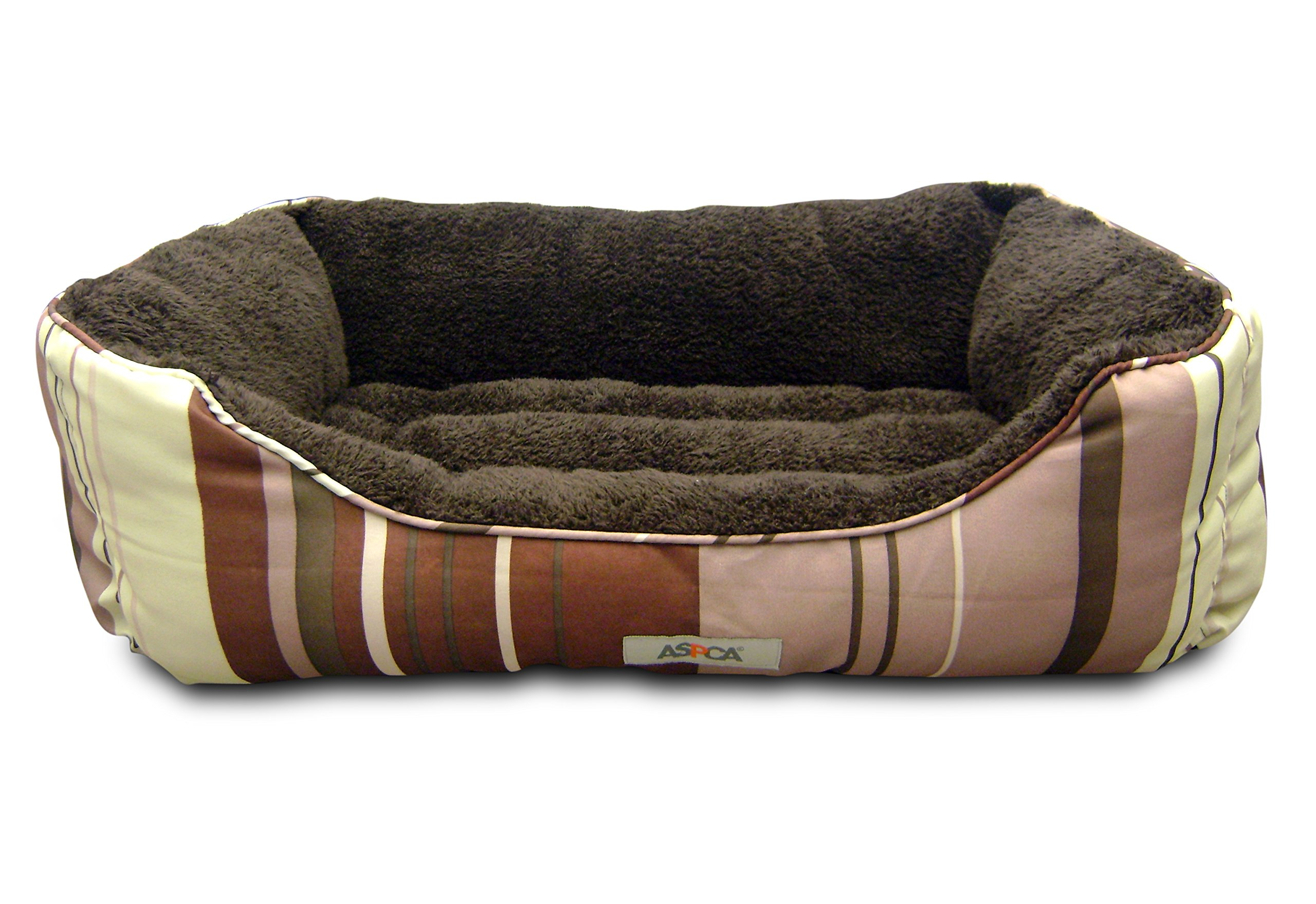 ASPCA Microtech Striped Dog Bed Cuddler 28 by 20 by 8-Inch. Brown