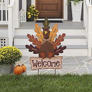 Glitzhome JK29520TC Burlap & Wooden Autumn Turkey Welcome Garden Stake, Yard Sign