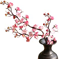 cn-Knight Artificial Flower 3pcs 37'' Super Long Stem Silk Plum Blossom Faux Japanese Apricot Fake Chinese Plum Flower…